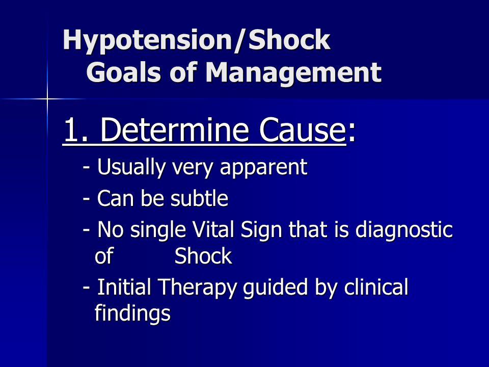 Hypotension/Shock Goals of Management