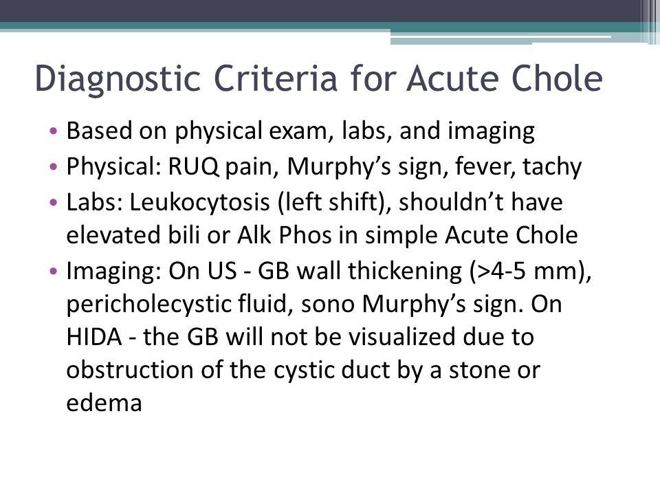 Diagnostic Criteria for Acute Chole