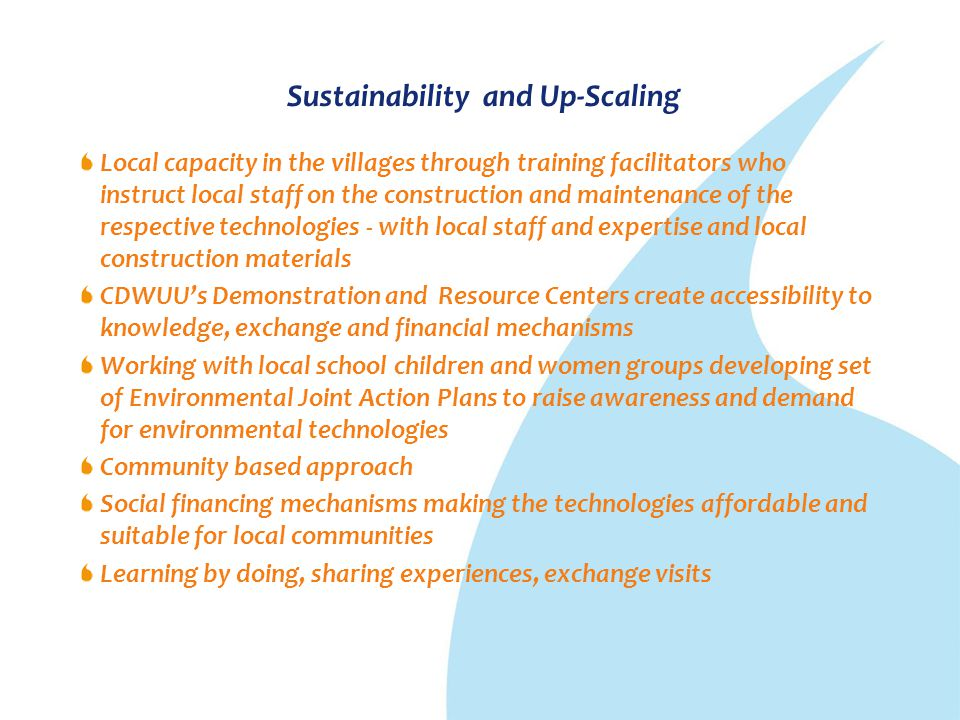 Sustainability and Up-Scaling