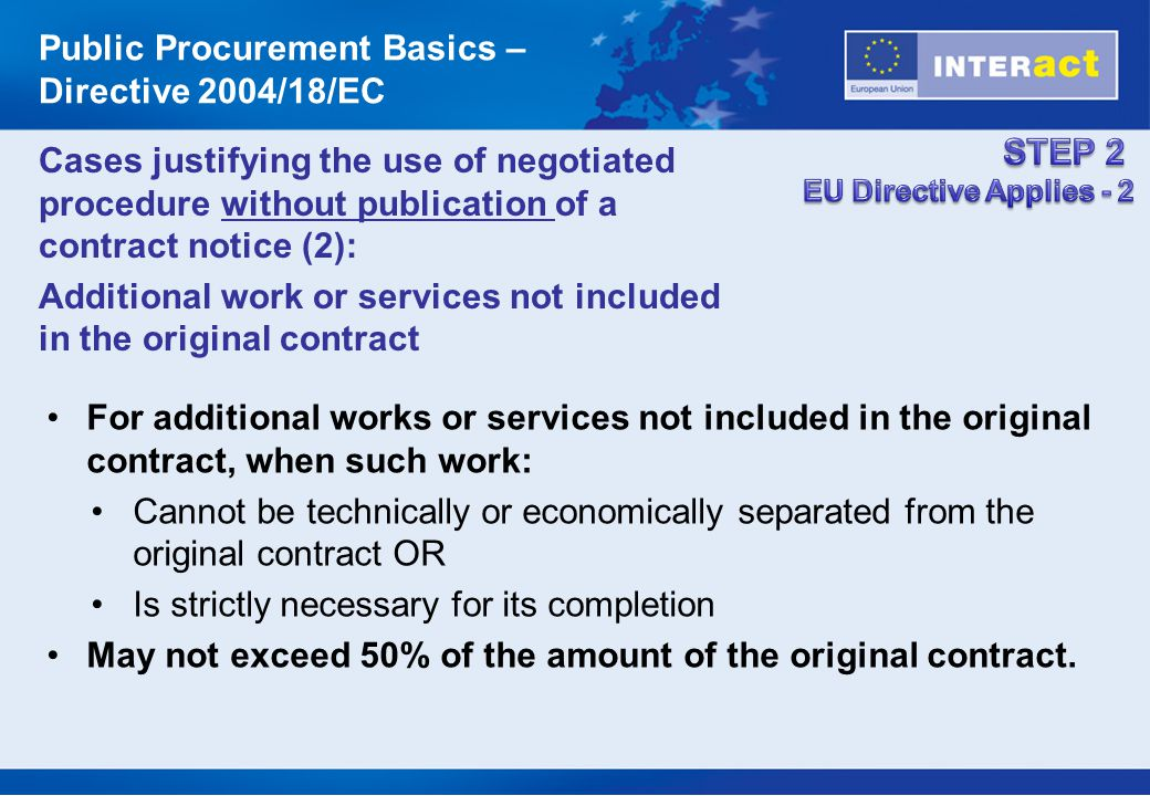 Public Procurement Basics – Directive 2004/18/EC