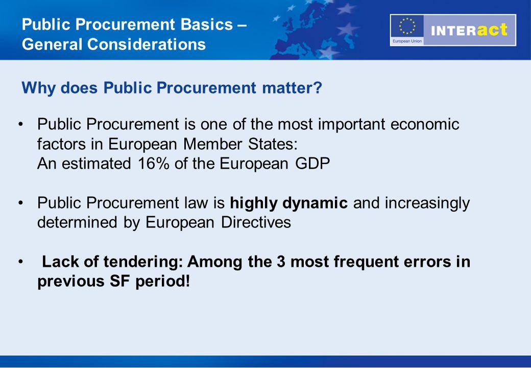 Public Procurement Basics – General Considerations