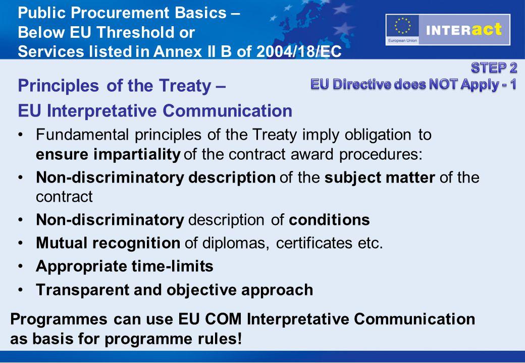Principles of the Treaty – EU Interpretative Communication