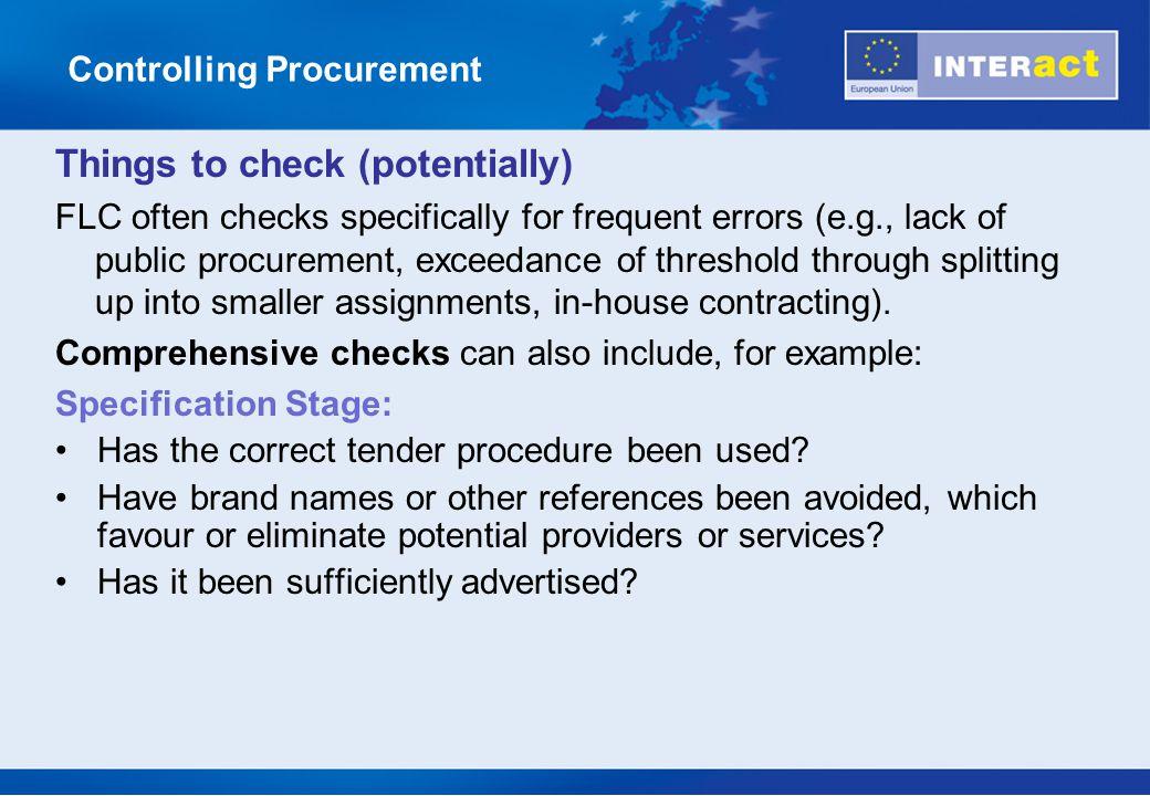 Controlling Procurement
