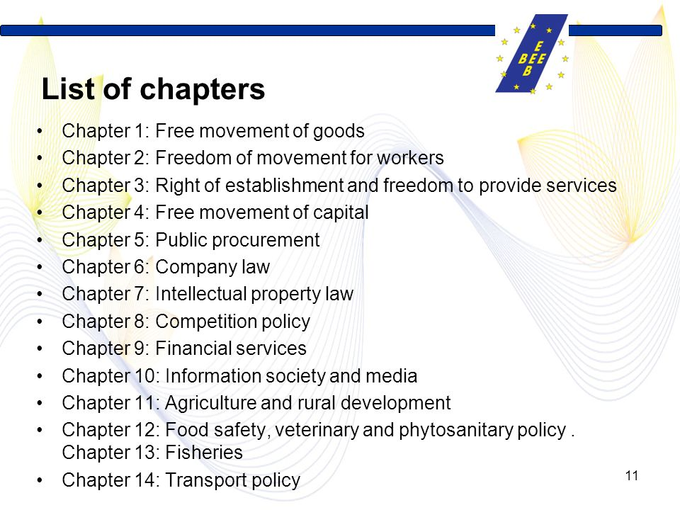 List of chapters Chapter 1: Free movement of goods