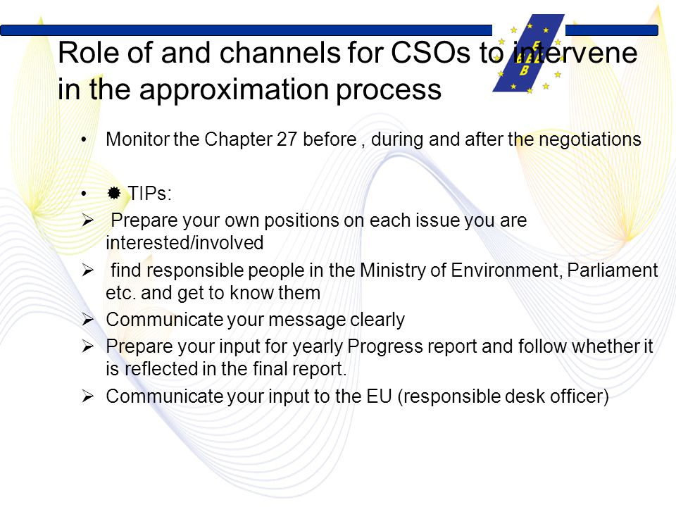 Role of and channels for CSOs to intervene in the approximation process