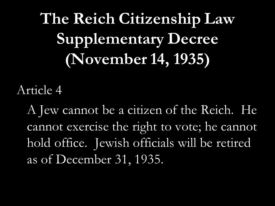 The Reich Citizenship Law Supplementary Decree (November 14, 1935)