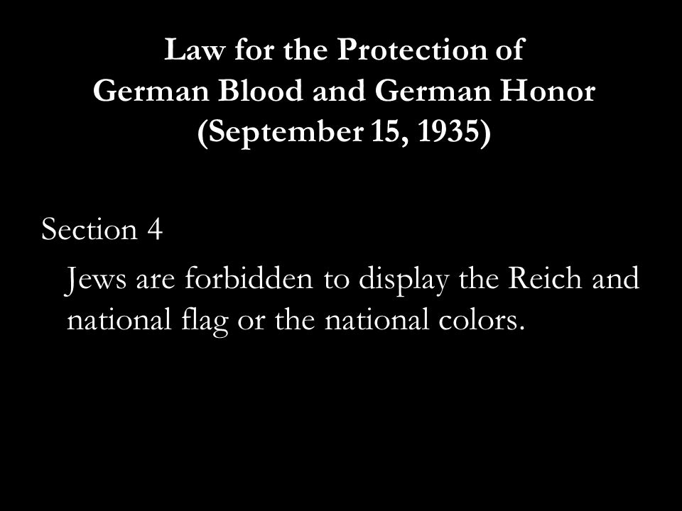 Law for the Protection of German Blood and German Honor (September 15, 1935)
