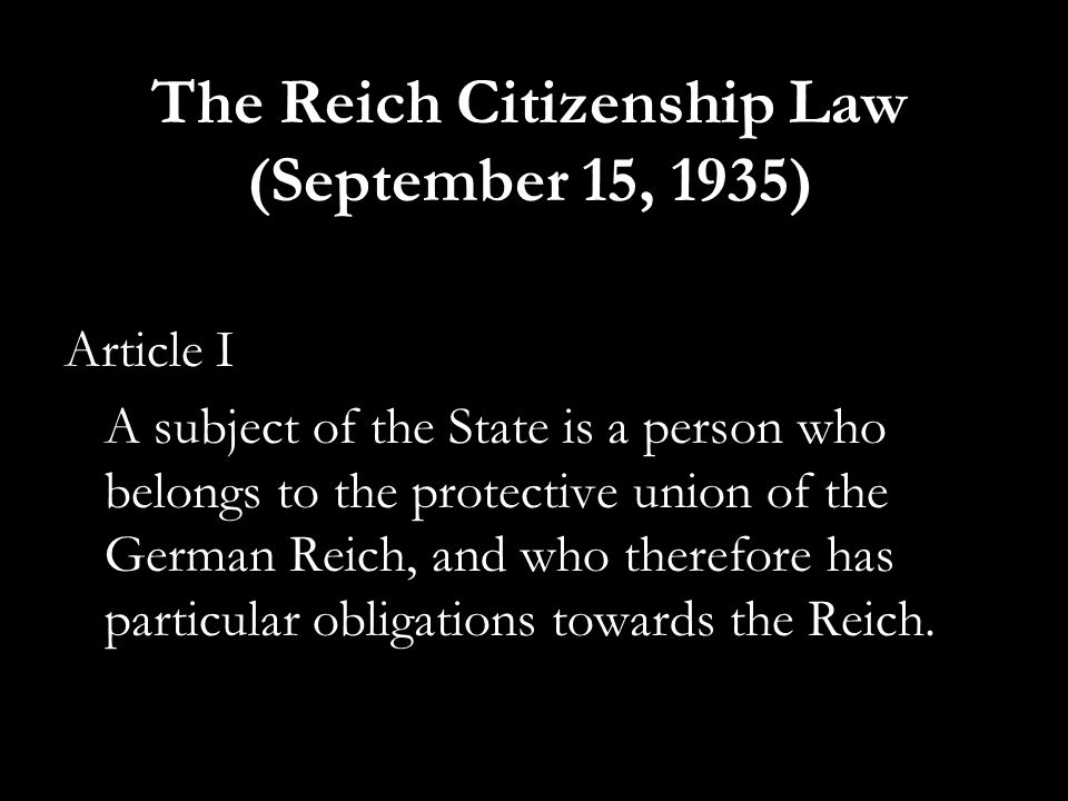 The Reich Citizenship Law (September 15, 1935)