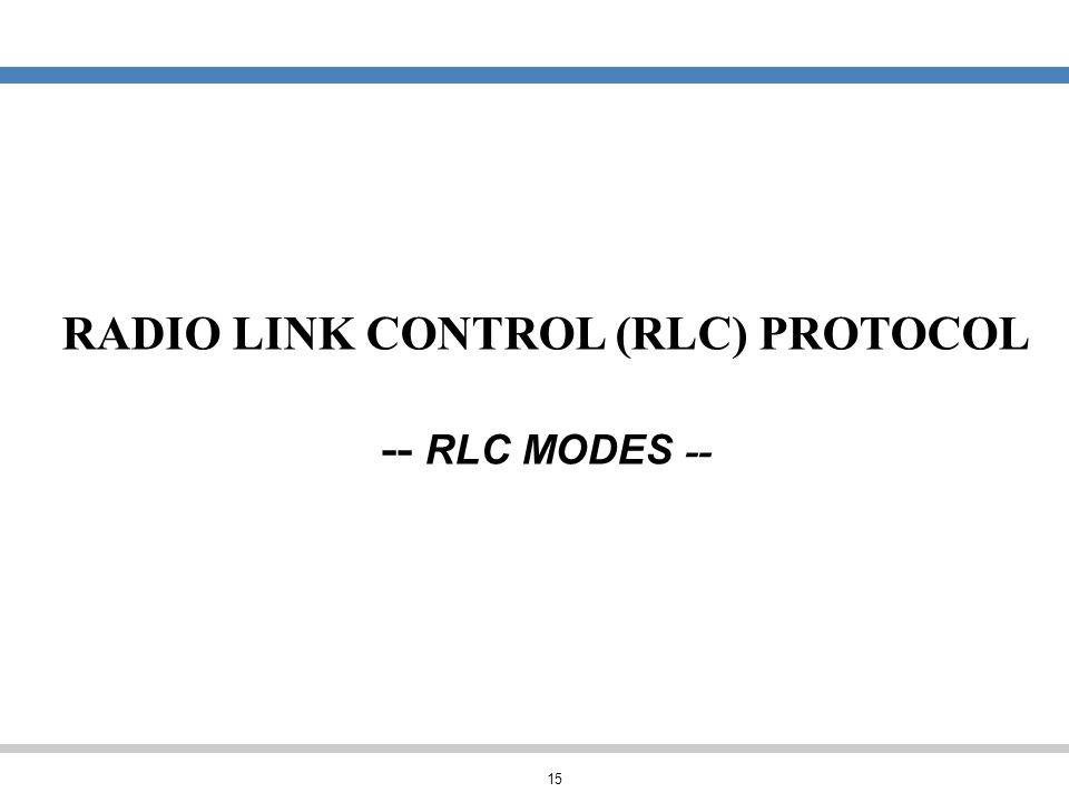 RADIO LINK CONTROL (RLC) PROTOCOL