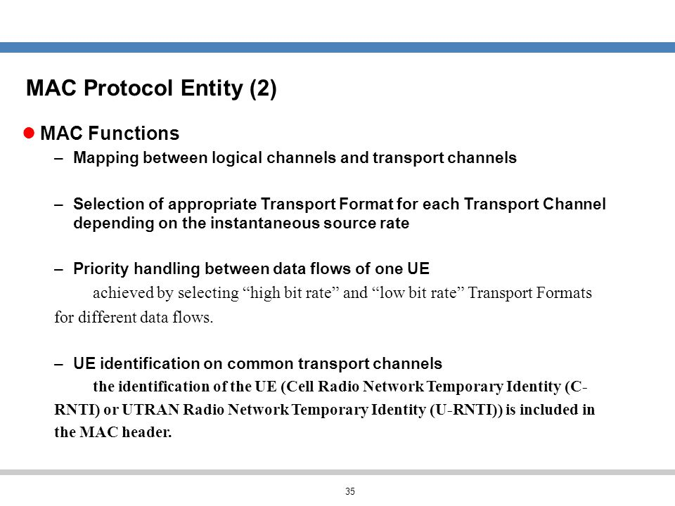 MAC Protocol Entity (2) MAC Functions