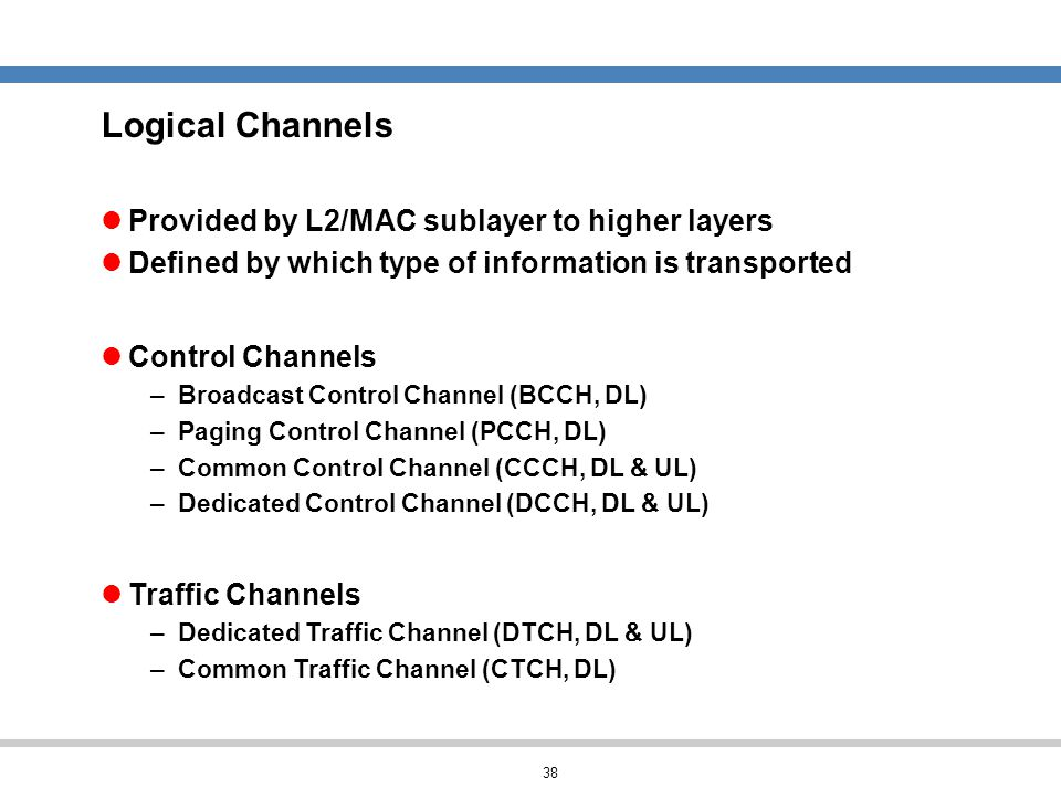 Logical Channels Provided by L2/MAC sublayer to higher layers