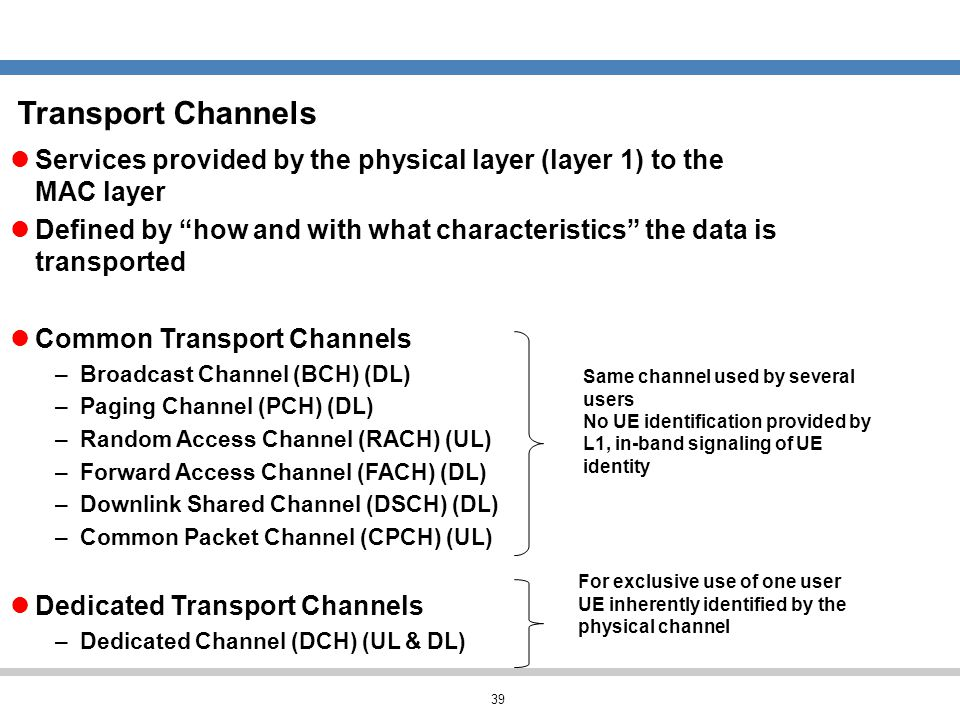 Transport Channels Services provided by the physical layer (layer 1) to the MAC layer.
