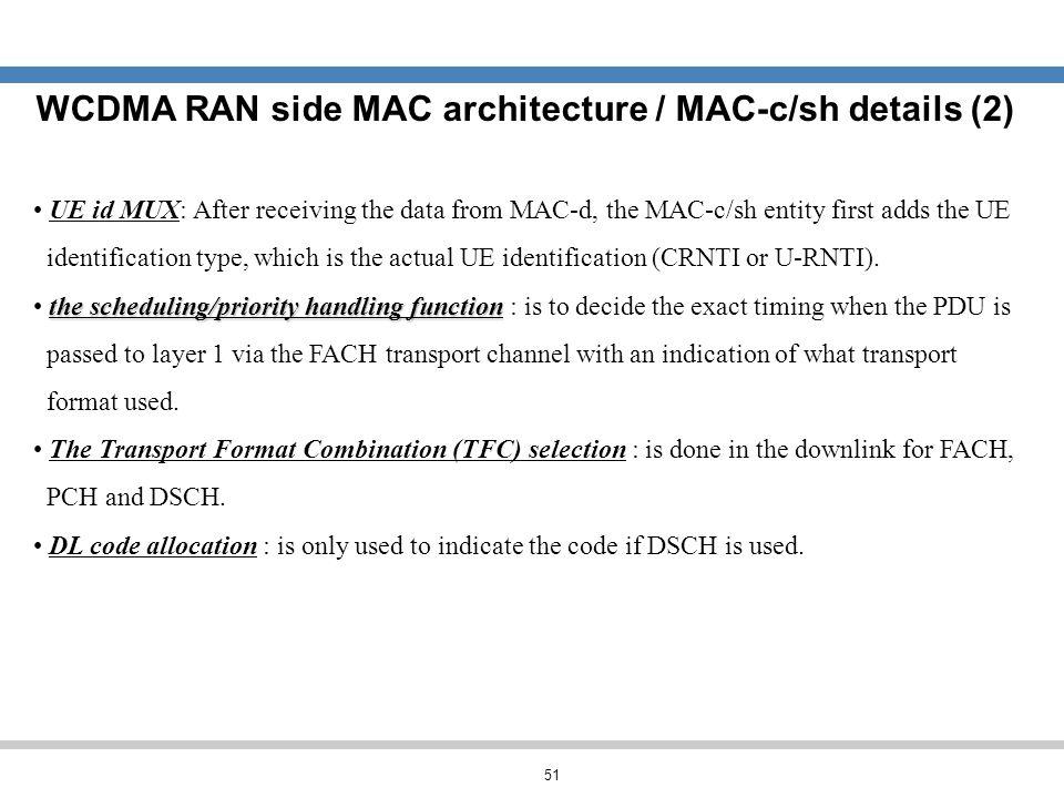 WCDMA RAN side MAC architecture / MAC-c/sh details (2)