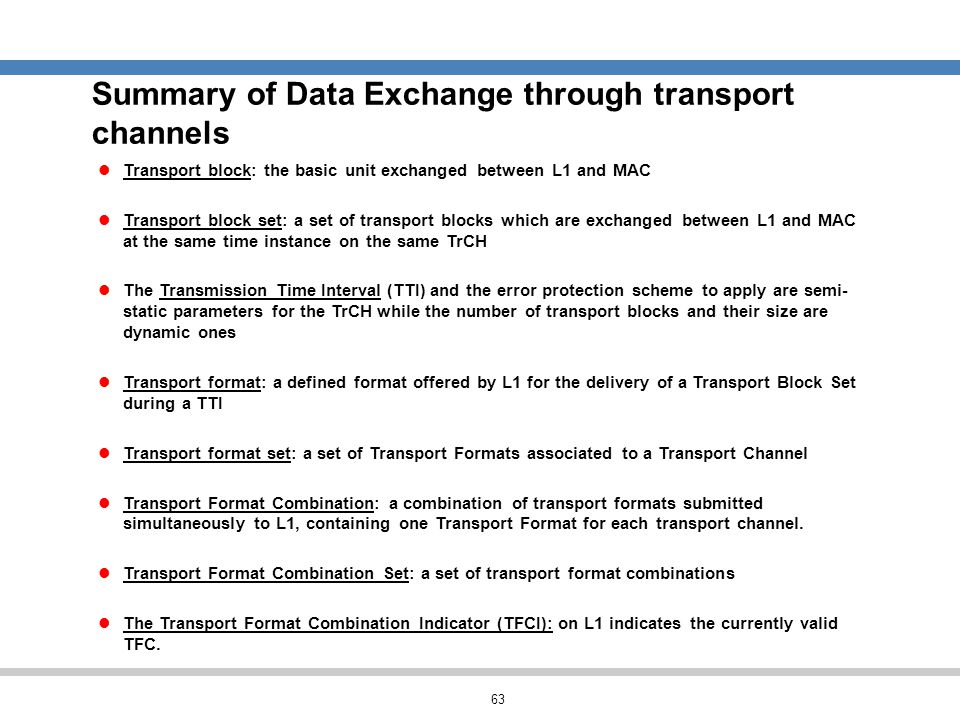 Summary of Data Exchange through transport channels