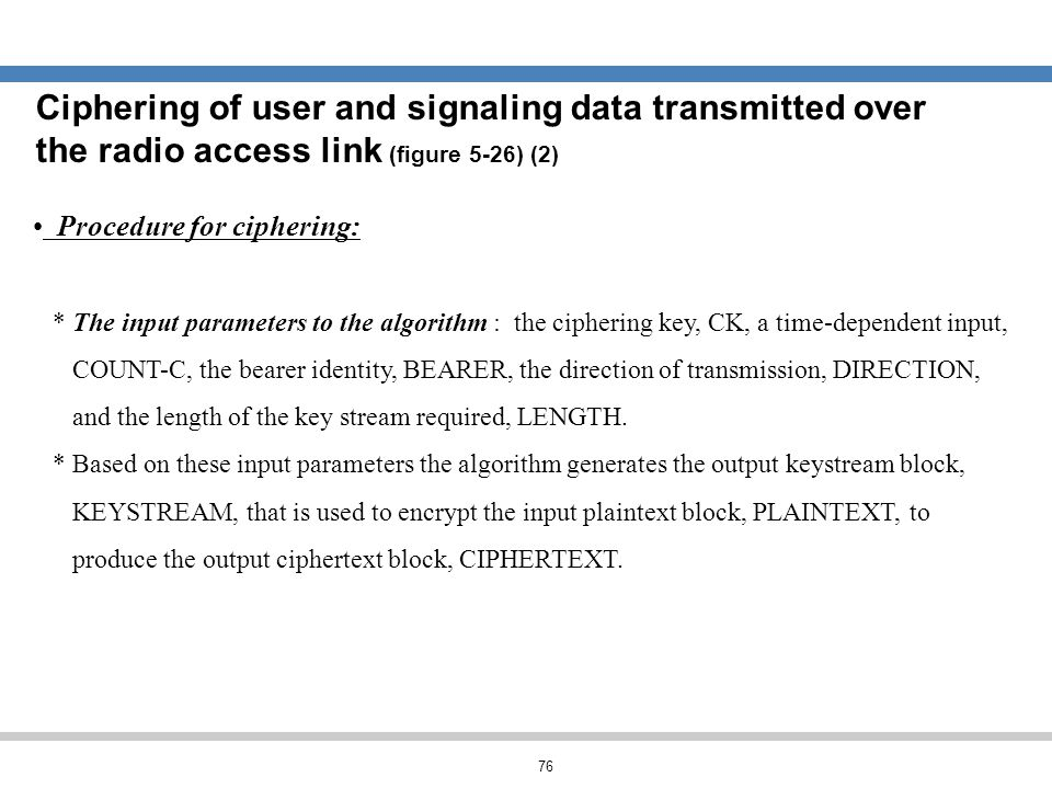 Ciphering of user and signaling data transmitted over the radio access link (figure 5-26) (2)