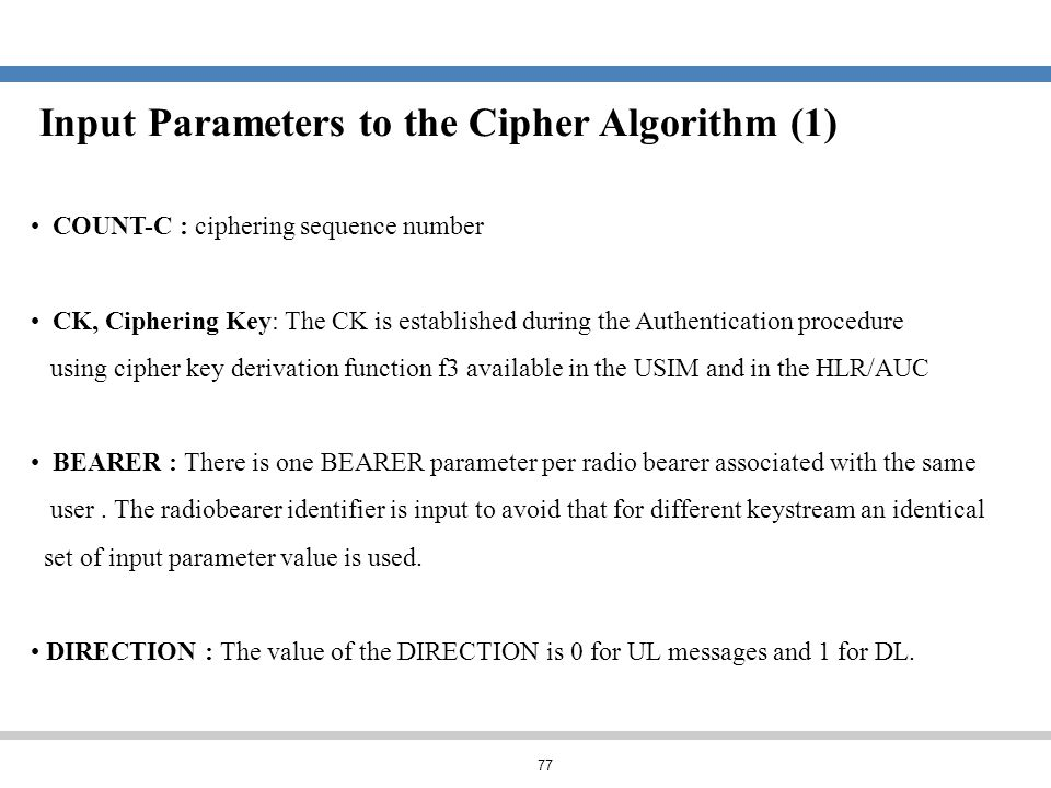 Input Parameters to the Cipher Algorithm (1)