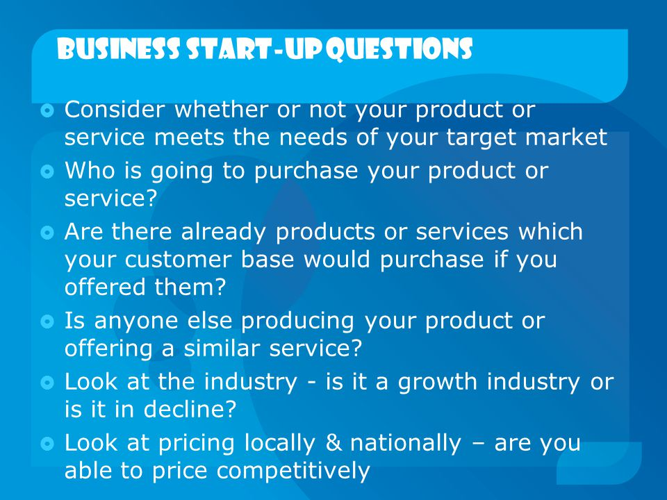 business start-up Questions