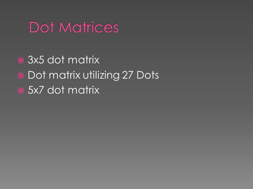 Dot Matrices 3x5 dot matrix Dot matrix utilizing 27 Dots