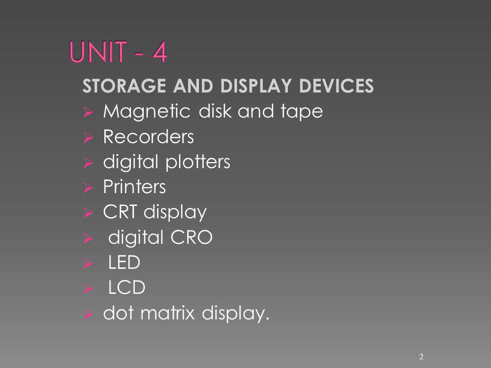 UNIT - 4 STORAGE AND DISPLAY DEVICES Magnetic disk and tape Recorders