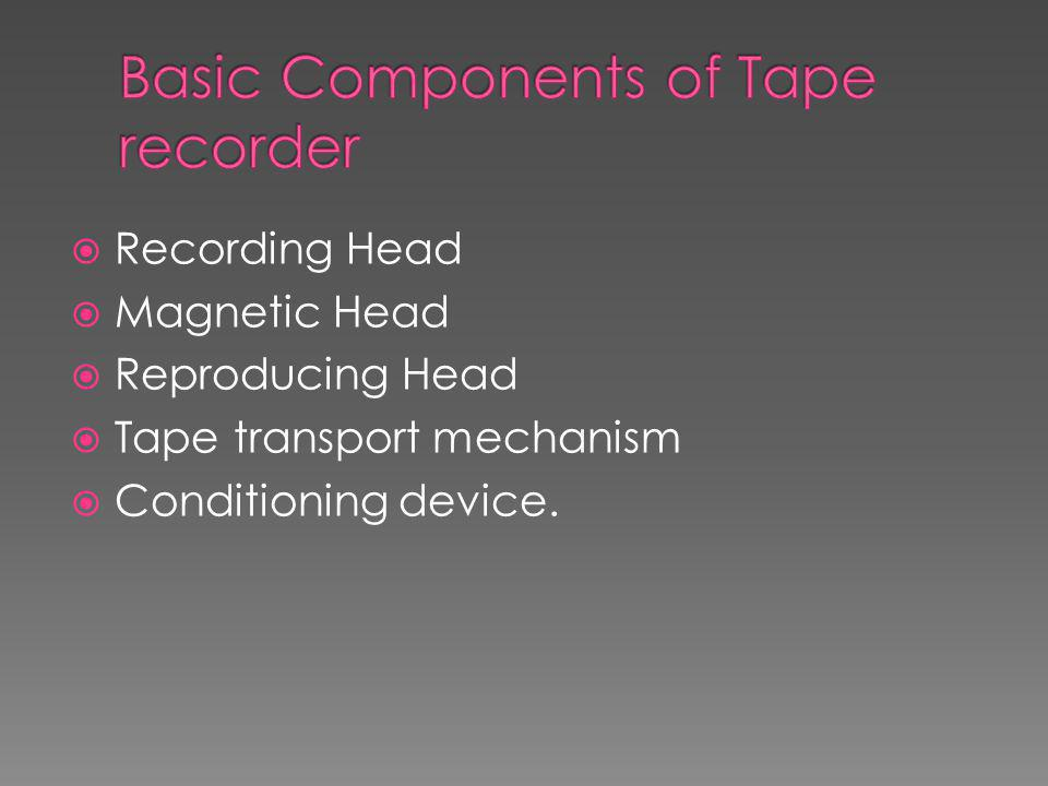 Basic Components of Tape recorder