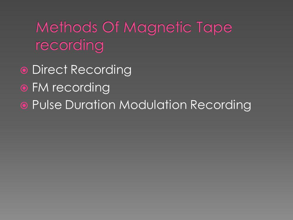 Methods Of Magnetic Tape recording
