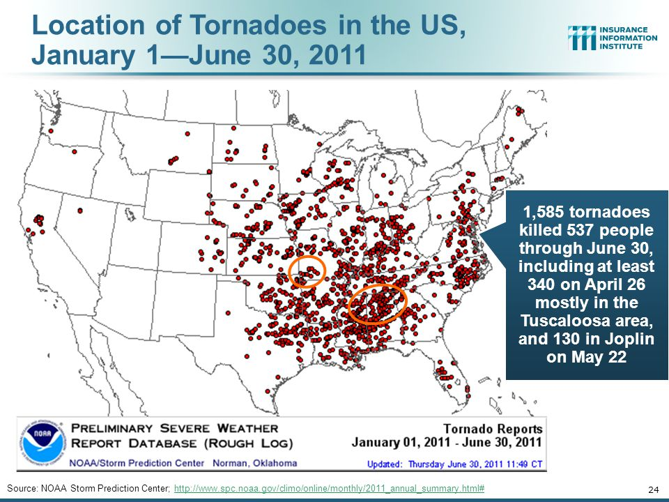 Location of Tornadoes in the US, January 1—June 30, 2011