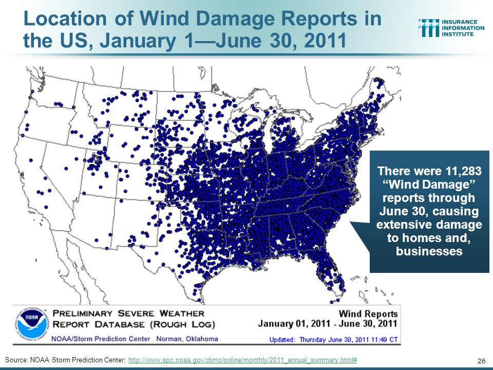 Location of Wind Damage Reports in the US, January 1—June 30, 2011