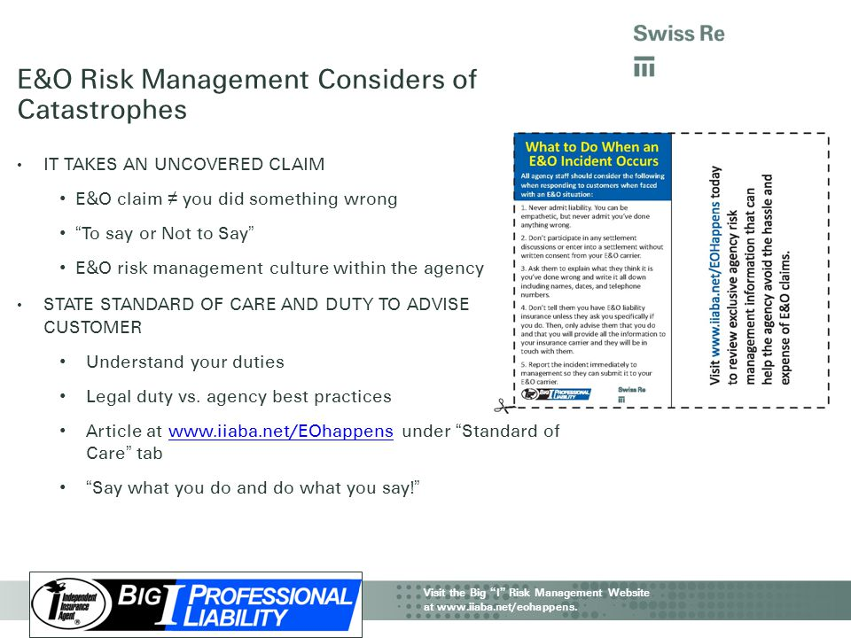 E&O Risk Management Considers of Catastrophes