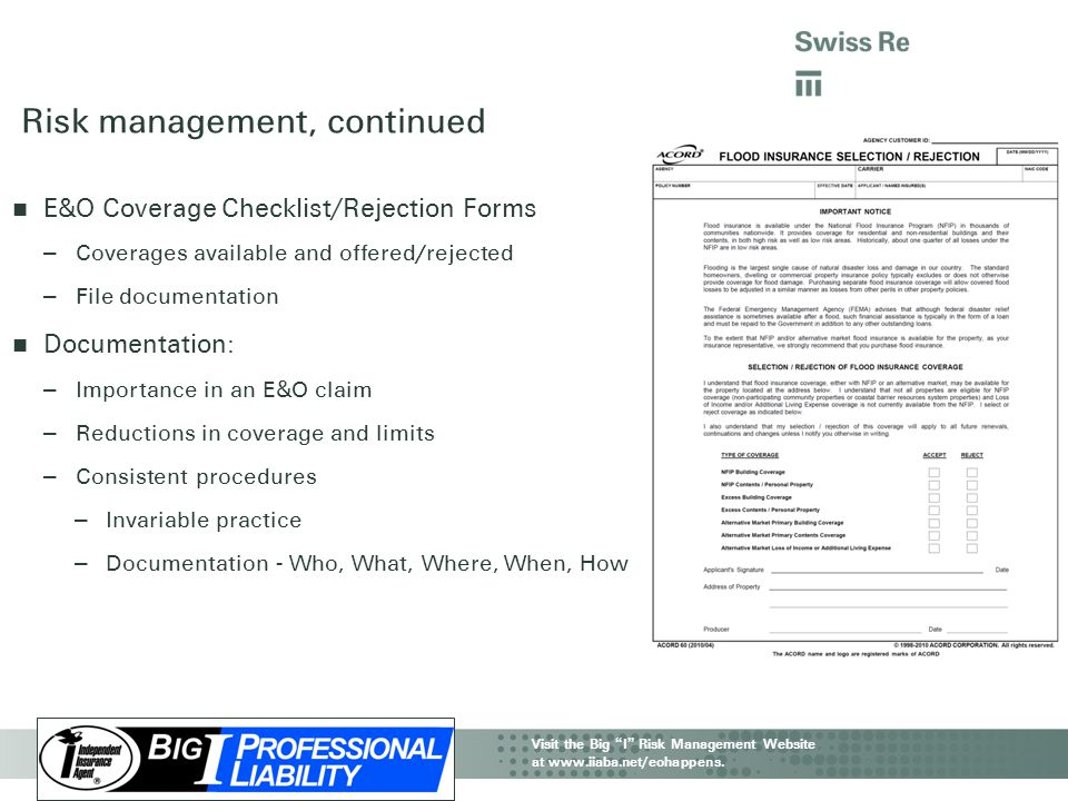 Risk management, continued