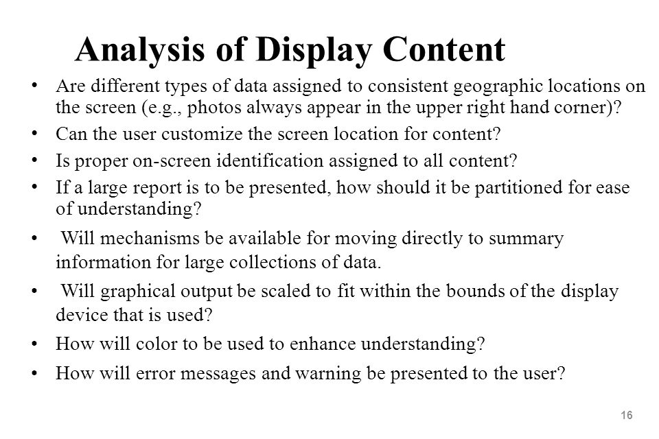 Analysis of Display Content