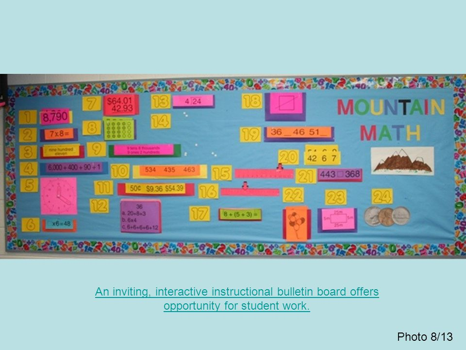 An inviting, interactive instructional bulletin board offers opportunity for student work.
