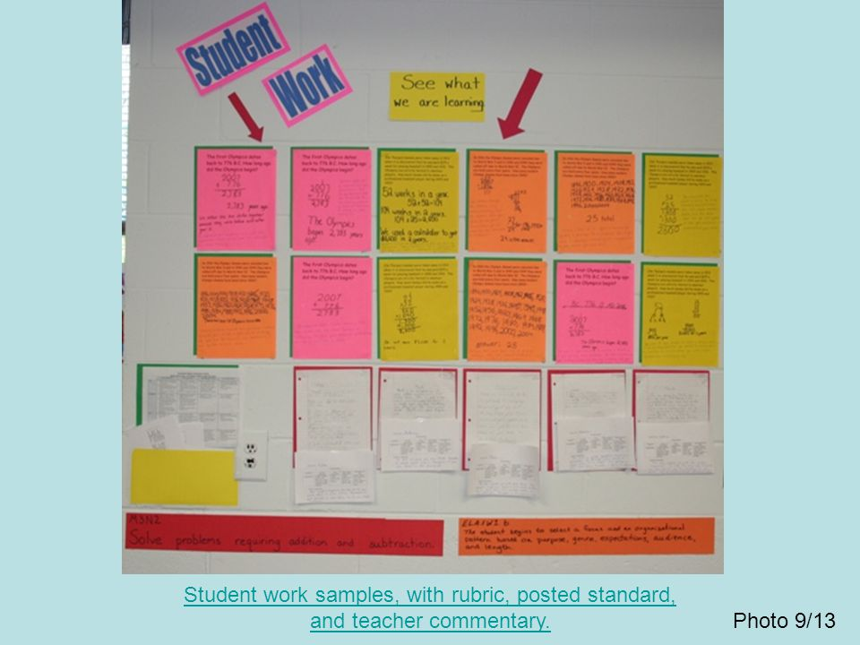 Student work samples, with rubric, posted standard, and teacher commentary.