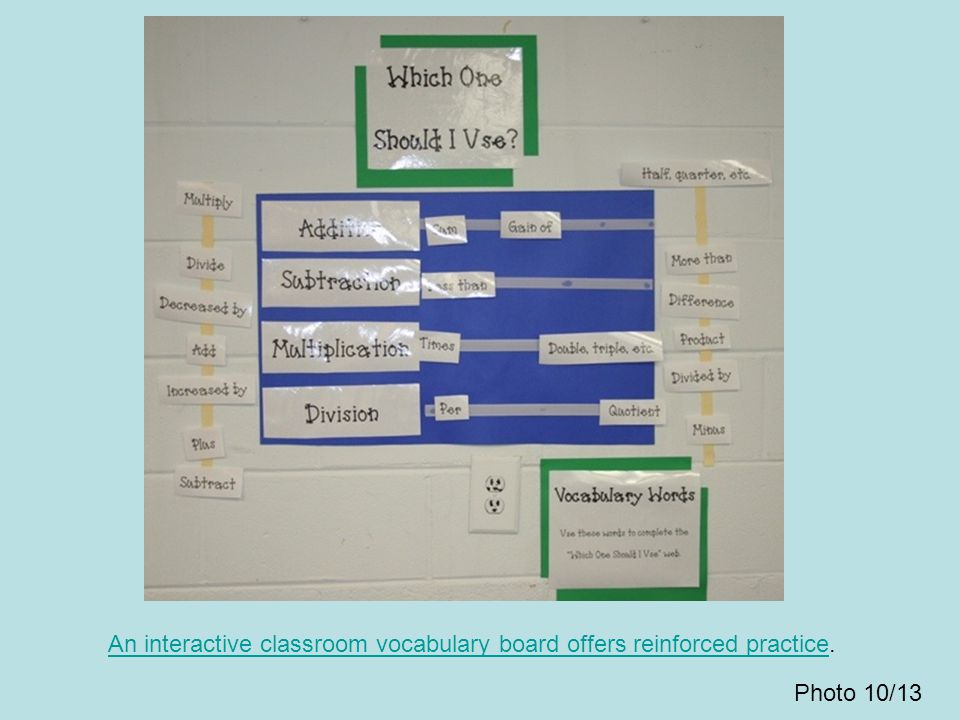 An interactive classroom vocabulary board offers reinforced practice.