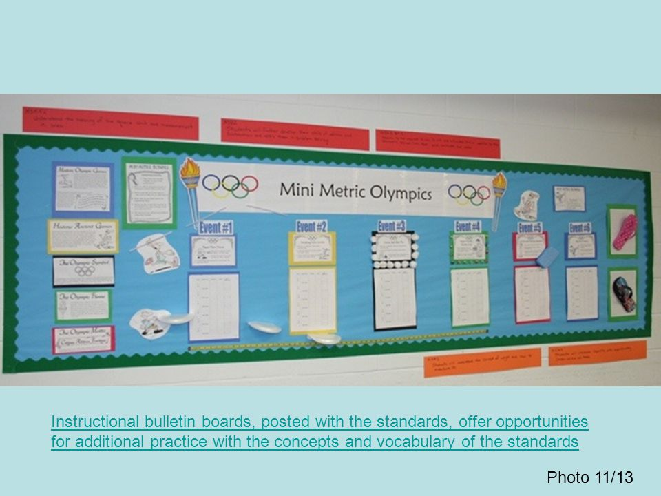 Instructional bulletin boards, posted with the standards, offer opportunities for additional practice with the concepts and vocabulary of the standards