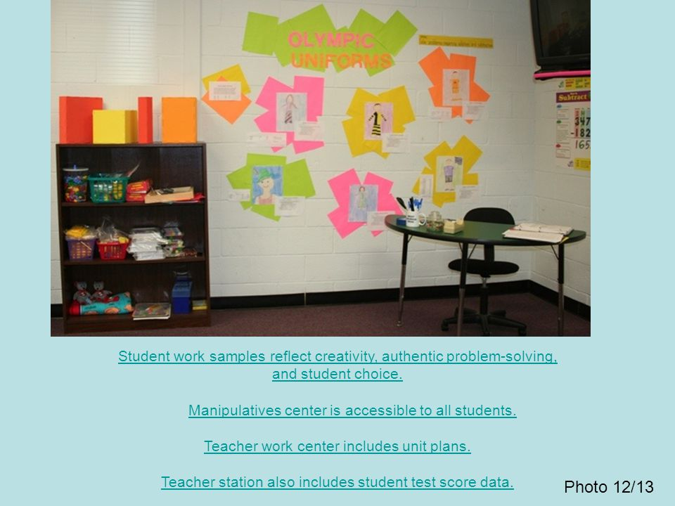 Student work samples reflect creativity, authentic problem-solving, and student choice. Manipulatives center is accessible to all students. Teacher work center includes unit plans. Teacher station also includes student test score data.