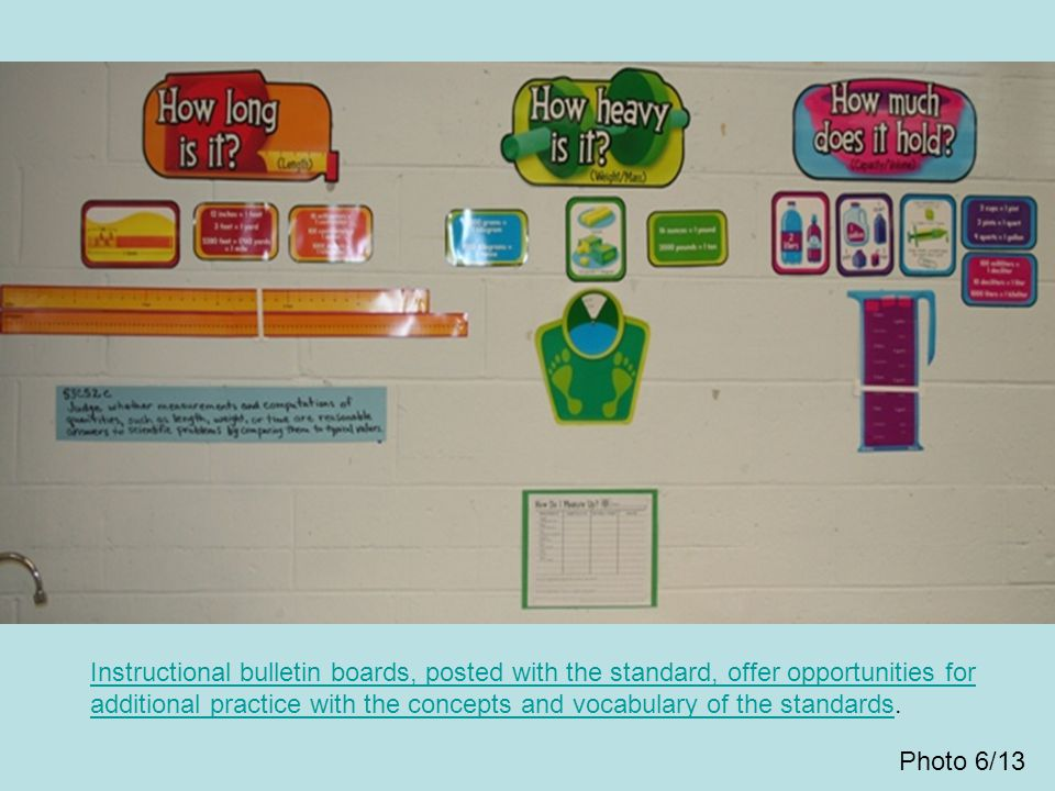 Instructional bulletin boards, posted with the standard, offer opportunities for additional practice with the concepts and vocabulary of the standards.