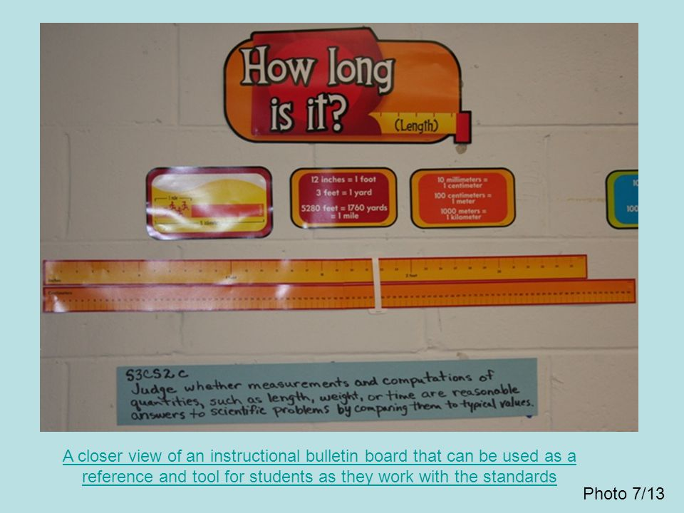 A closer view of an instructional bulletin board that can be used as a reference and tool for students as they work with the standards