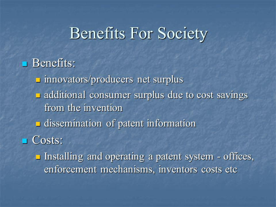 Benefits For Society Benefits: Costs: innovators/producers net surplus