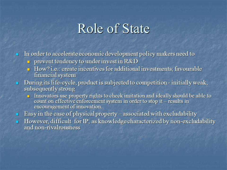 Role of State In order to accelerate economic development policy makers need to. prevent tendency to under invest in R&D.