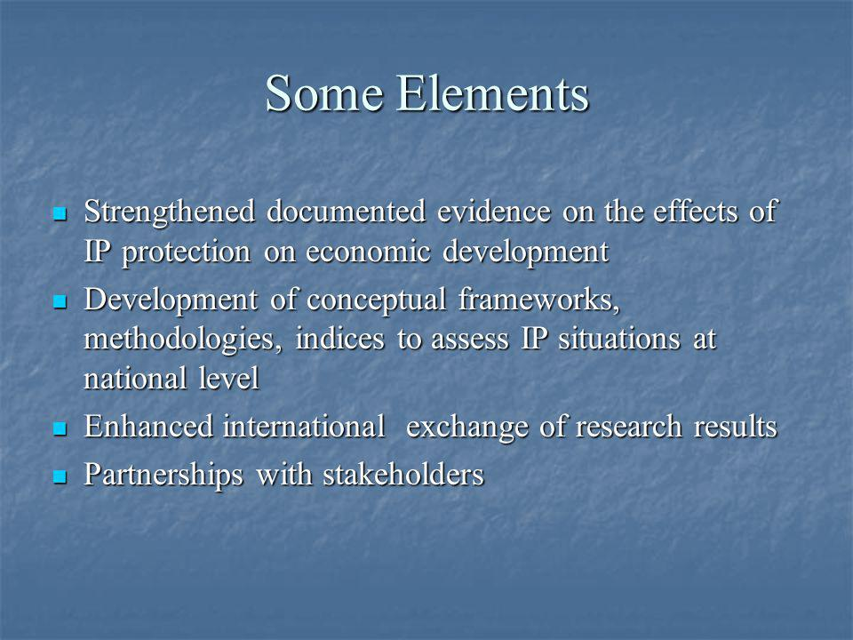 Some Elements Strengthened documented evidence on the effects of IP protection on economic development.