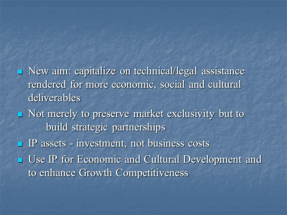 New aim: capitalize on technical/legal assistance rendered for more economic, social and cultural deliverables