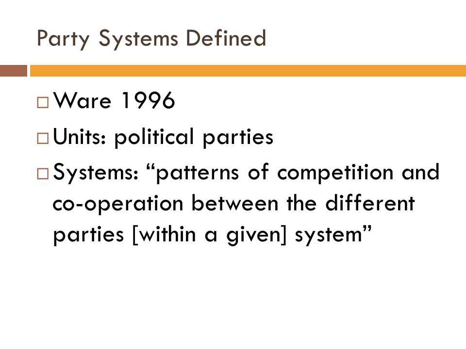 Party Systems Defined Ware 1996. Units: political parties.