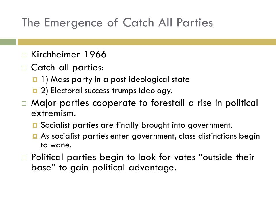 The Emergence of Catch All Parties