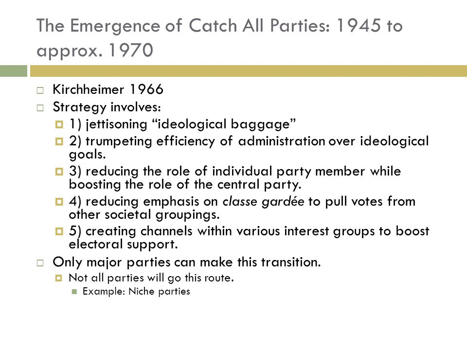The Emergence of Catch All Parties: 1945 to approx. 1970