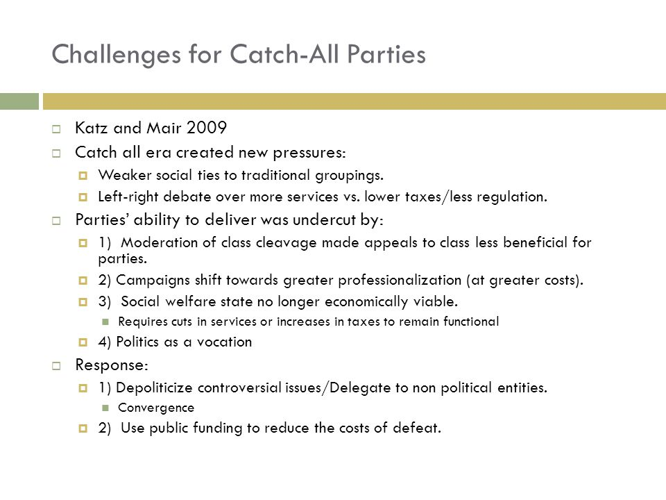 Challenges for Catch-All Parties