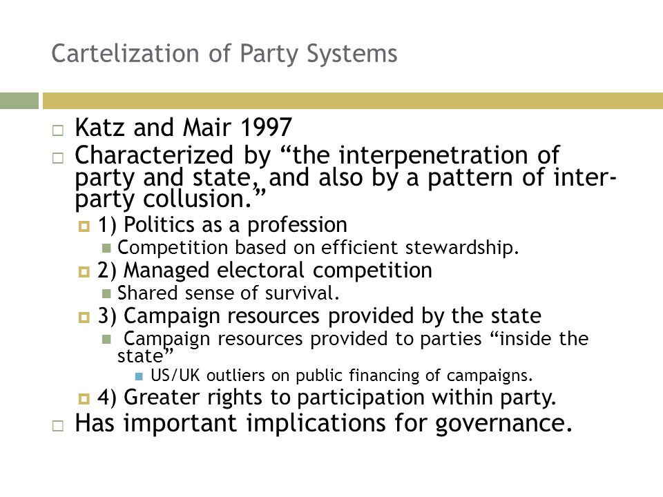 Cartelization of Party Systems