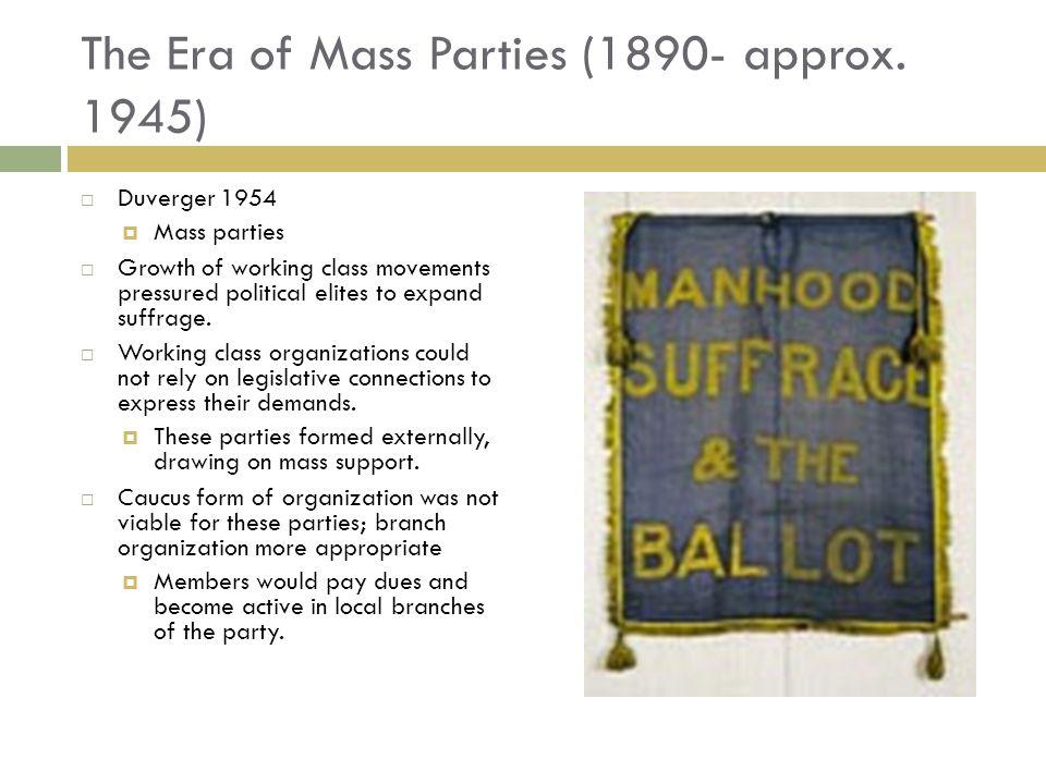 The Era of Mass Parties (1890- approx. 1945)