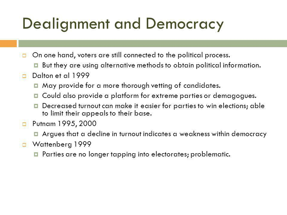Dealignment and Democracy