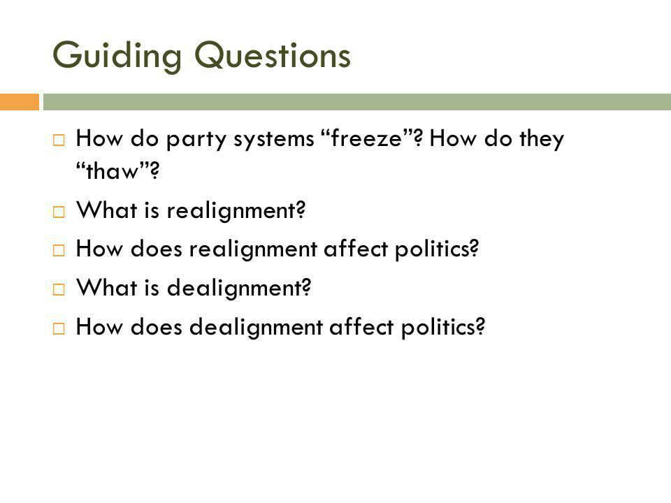 Guiding Questions How do party systems freeze How do they thaw