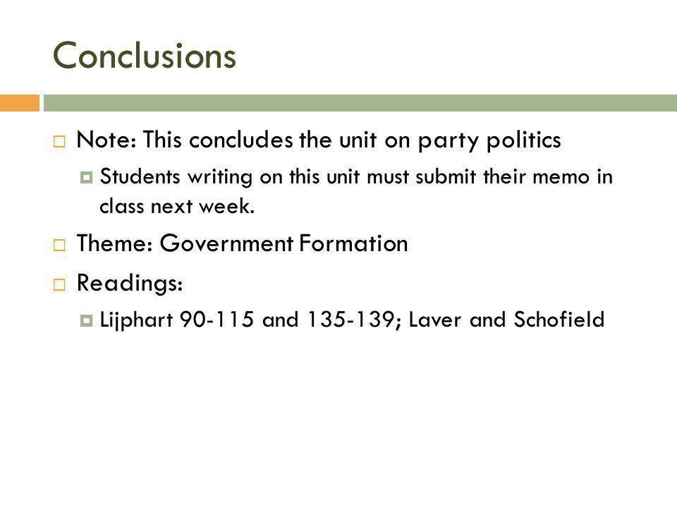 Conclusions Note: This concludes the unit on party politics